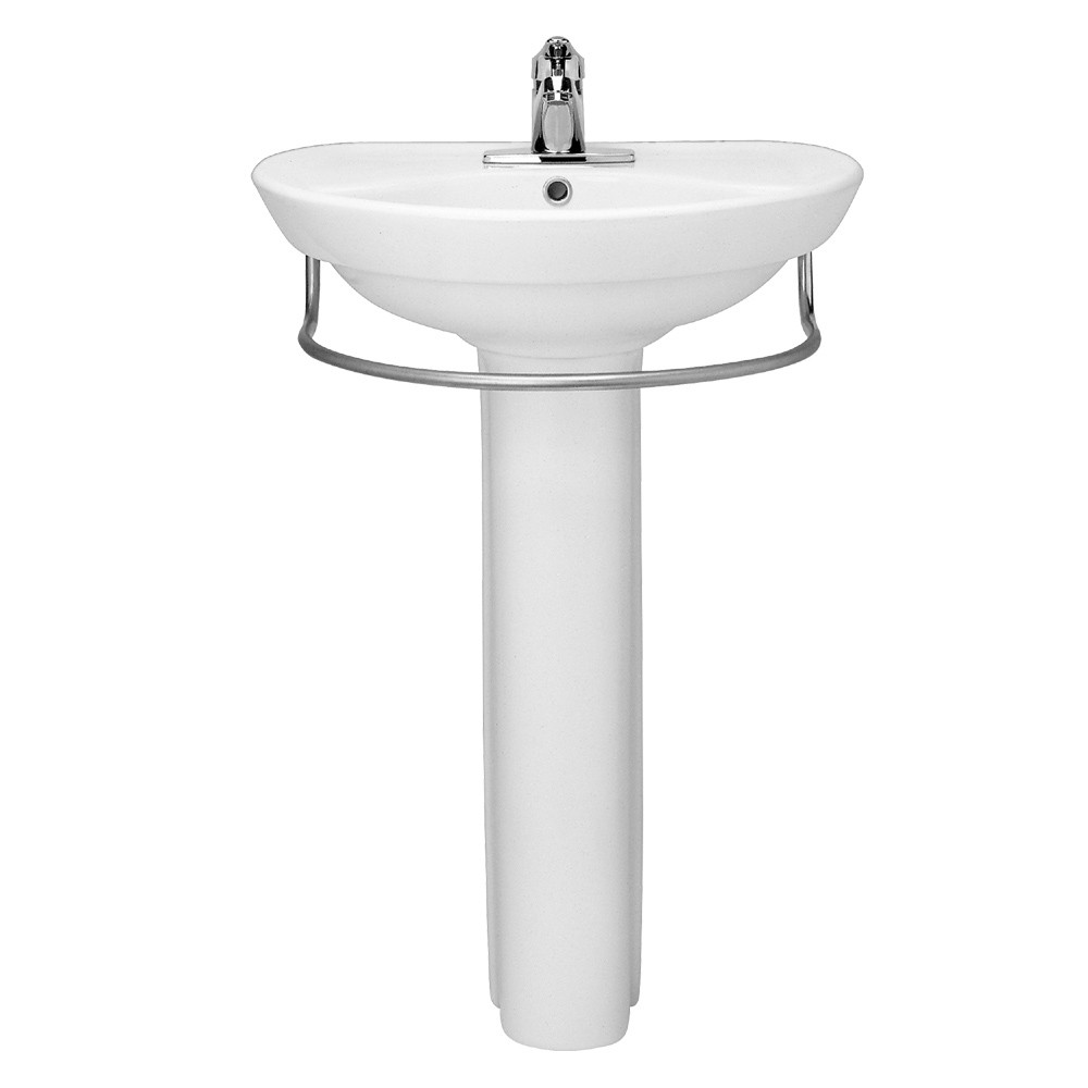 Single Hole Pedestal Sink : ... Vitreous China Pedestal Bathroom Sink with Single Faucet Hole in White
