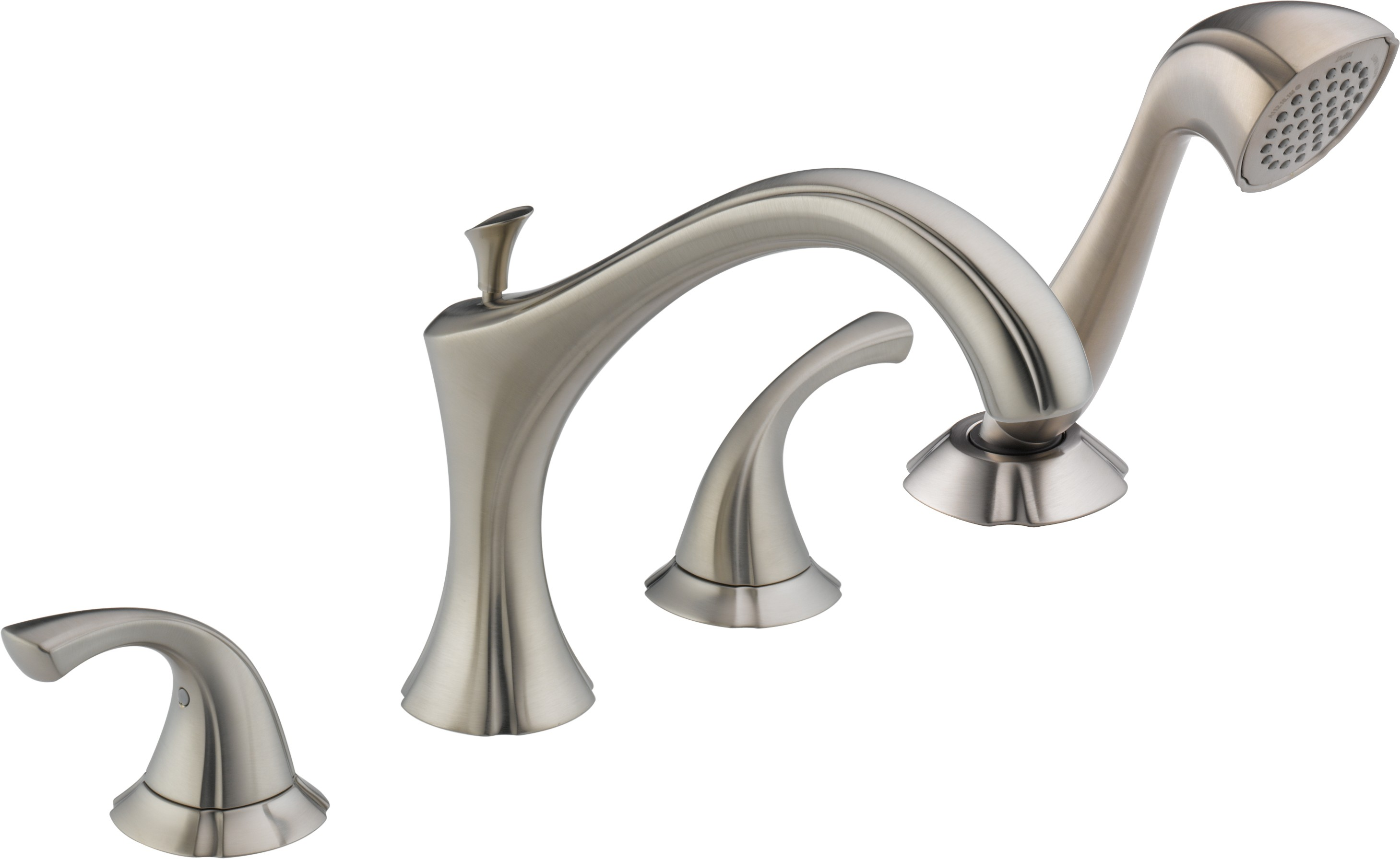delta addison deck mount bathtub faucet trim with hand shower t4792