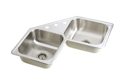 ... Self-Rimming Stainless Steel Corner Kitchen Sink with 3 Faucet Holes