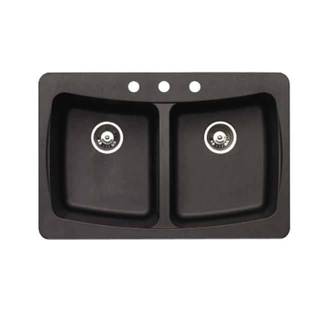Pegasus AL20MB Granite Double Bowl Kitchen Sink in Metallic Black