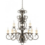World Imports 5049-63 (WI504963) Sheffield 9 Light Chandelier In French Bronze