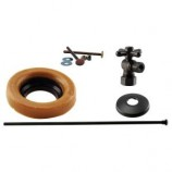 Westbrass D1614TBX12 1/2 in. Nominal Compression Cross Handle Angle Stop Toilet Installation Kit in Oil Rubbed Bronze