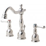 Danze D303057PNV Opulence Two Handle Mini-Widespread Bathroom Sink Faucet with Metal Popup Drain in Polished Nickel