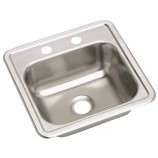 "Elkay D115152 Dayton 15"" x 15"" Stainless Steel Self-Rimming Single Bowl Bar, Prep, Entertainment Sink with 2 Faucet Holes"
