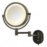 "Jerdon HL65BZ 8"" Wall Mount Halo Lighted Mirror in Bronze"