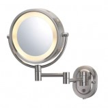 "Jerdon HL65N 8"" Wall Mount Halo Lighted Mirror in Nickel"