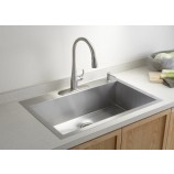 KOHLER K-3821-1-NA Vault Large Single Kitchen Sink with Single-Hole Faucet Drilling