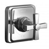 KOHLER K-T13174-3A-CP Pinstripe Pure Volume Control Trim with Cross Handle in Polished Chrome