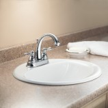 Moen 6121 Kingsley Two Handle Centerset Bathroom Sink Faucet with Valve in Chrome
