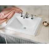 "KOHLER K-2241-8-0 Memoirs Self-Rimming Bathroom Sink with 8"" Widespread Faucet Holes in White"